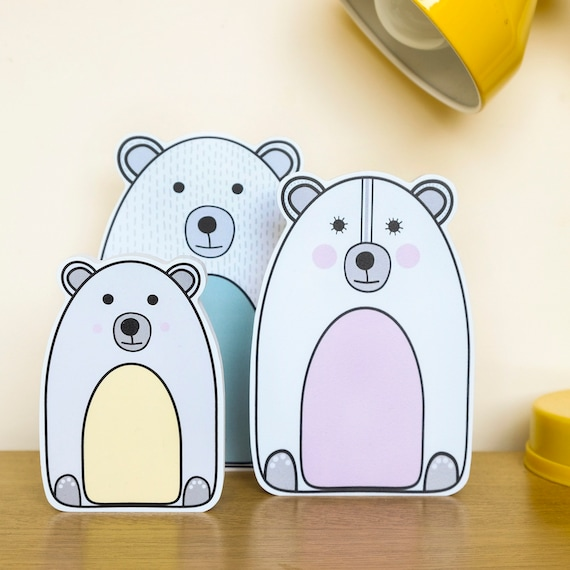 Nursery Shelf decoration. Bear family ornaments.