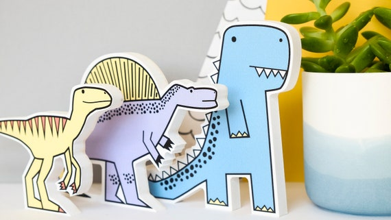Kids shelf decor. Dinosaur themed gift. Pastel Nursery wall art. Set of 3.