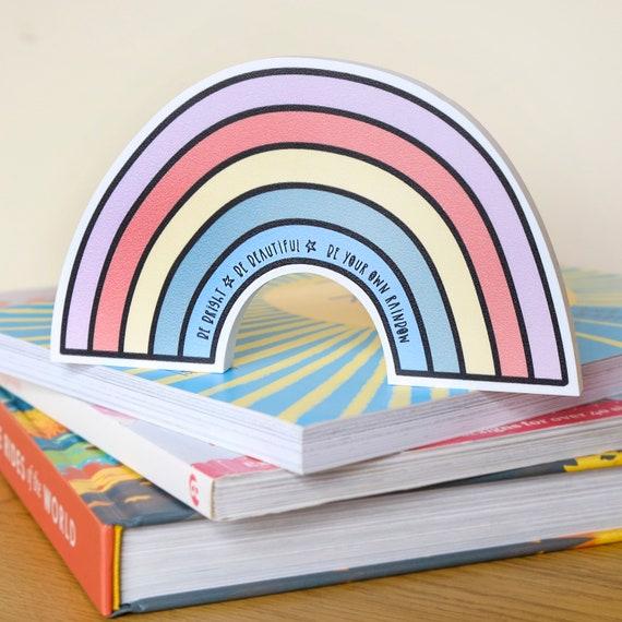 Rainbow shelfie. Positive quote wall art.