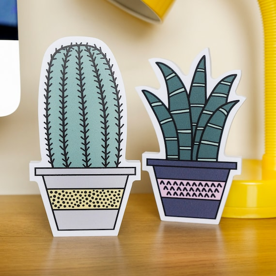 Cactus plant shelf decor. Desk accessory.