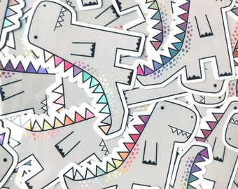 Trex Dinosaur sticker - Dinosaur vinyl sticker - Holographic sticker - Holographic vinyl