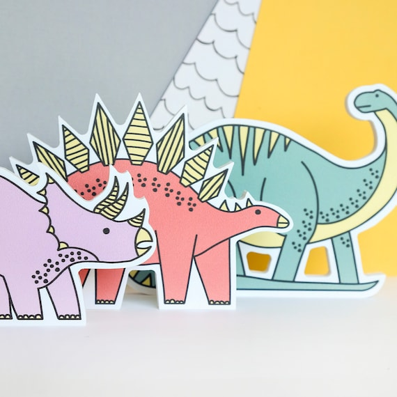 Shelf decor for Nursery. Dinosaur Kids wall art. Pastel theme. Set of 3
