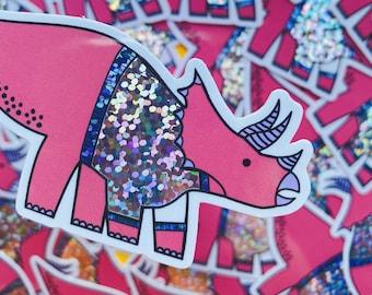 Christmas Dinosaur sticker - Triceratops vinyl sticker - Minor Fault