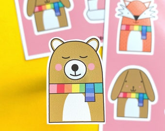 Cosy Animals Sticker sheet - Bear Sticker - Fox Sticker - Cat Sticker - Dog Sticker - Colourful journaling