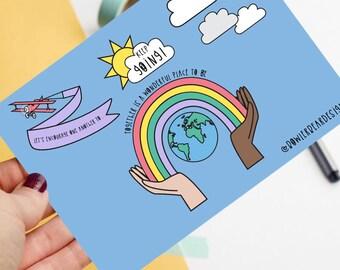 Motivational postcard! - Positive postcard - colourful illustration