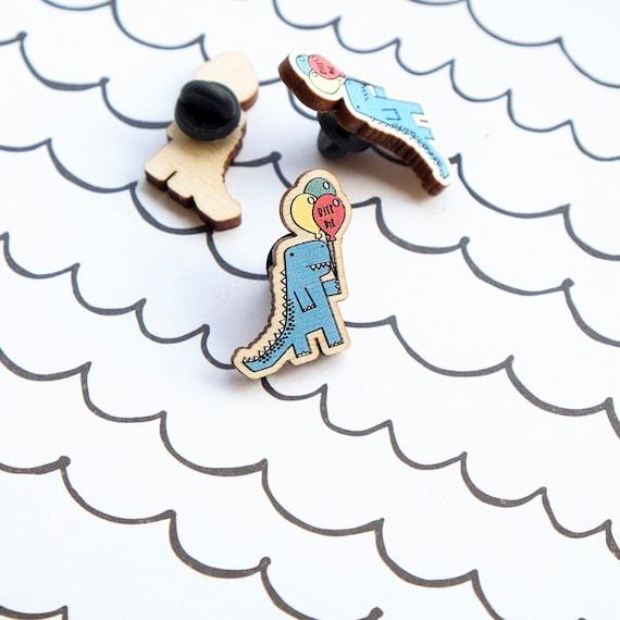 FIVER FRIDAY Dinosaur lapel pin. Mental health awareness badge.