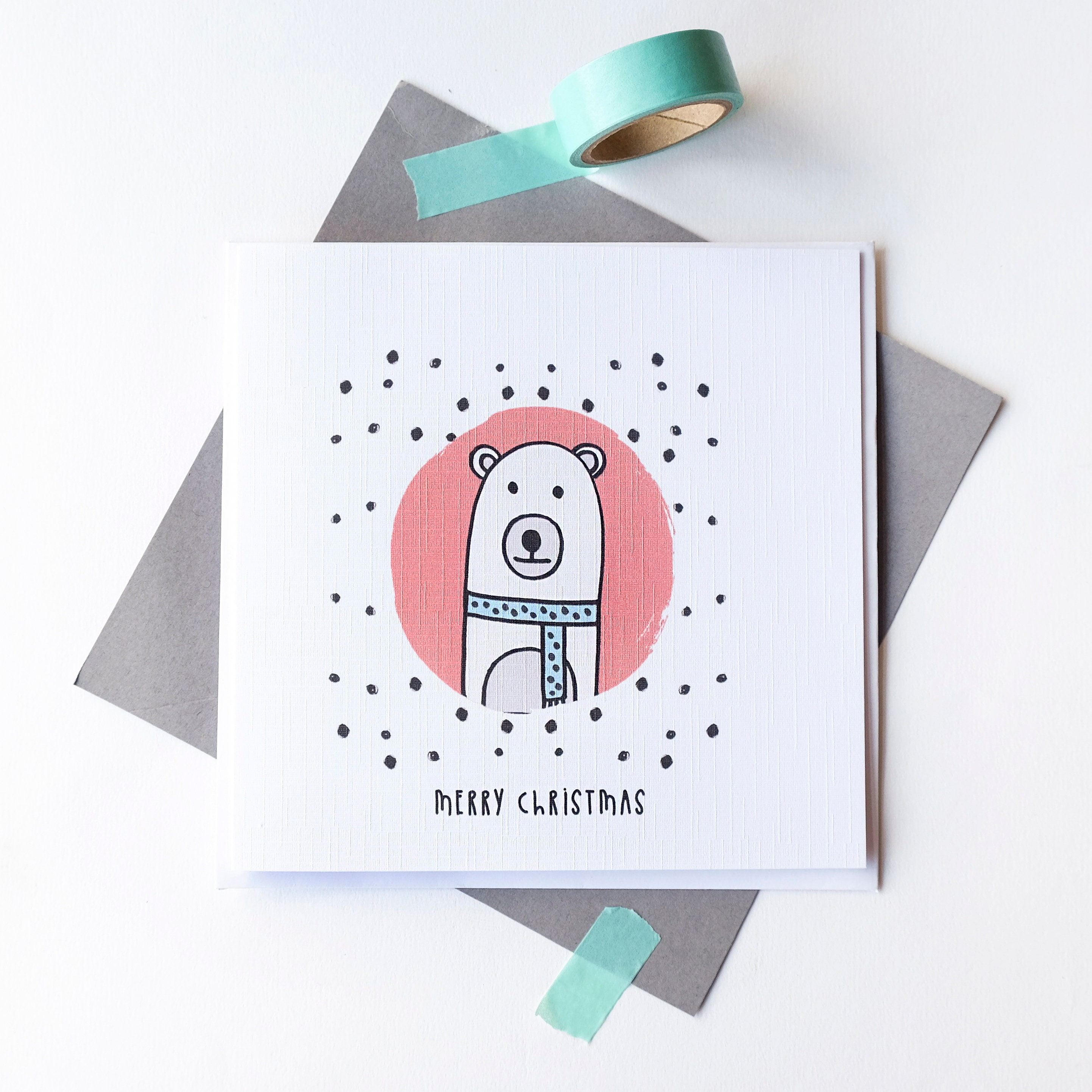 Polar Bear Christmas card. Merry Christmas, blank inside.