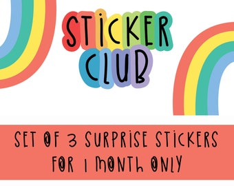 Sticker Club - Surprise Sticker Set - Monthly Colourful Sticker Subscription - Sticker Subscription Box - Monthly Stationery Subscription