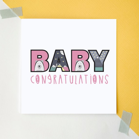 Baby Girl. Congratulations. Baby Shower. New Baby card.
