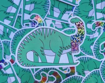 Christmas Dinosaur sticker - Diplodicus vinyl sticker - Glitter sticker
