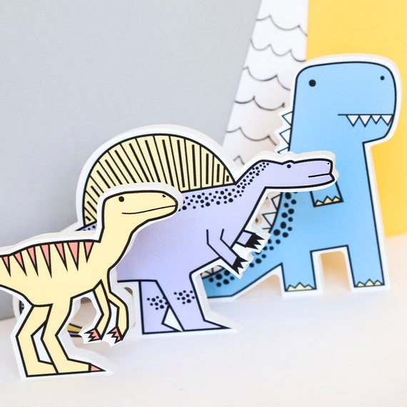 Set of 3 - Nursery decor - Dinosaur birthday gift - Dinosaur shelfie - Dinosaur Bedroom wall art