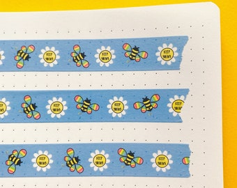 Bee Washi tape - Nature themed decorative tape - Journaling Washi Tape - Bee's & Flowers - Positive Washi tape