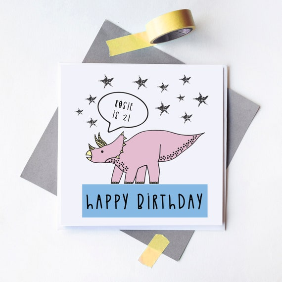 Personalised Dinosaur card - Birthday card - Choose your name - Blank inside.