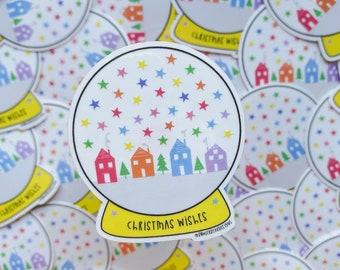 Christmas Snow Globe sticker - Christmas vinyl sticker - Transparent sticker