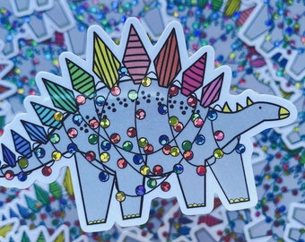 Christmas Dinosaur sticker - Stegosaurus vinyl sticker - Glitter sticker