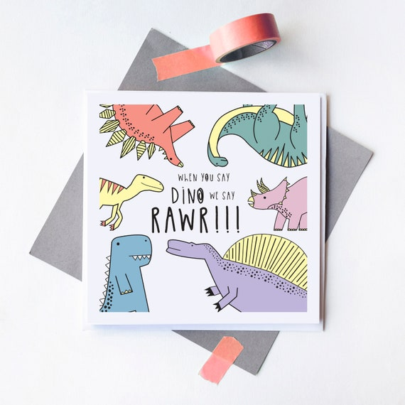 Dinosaur Party - Birthday card - Party invitation - Blank inside.