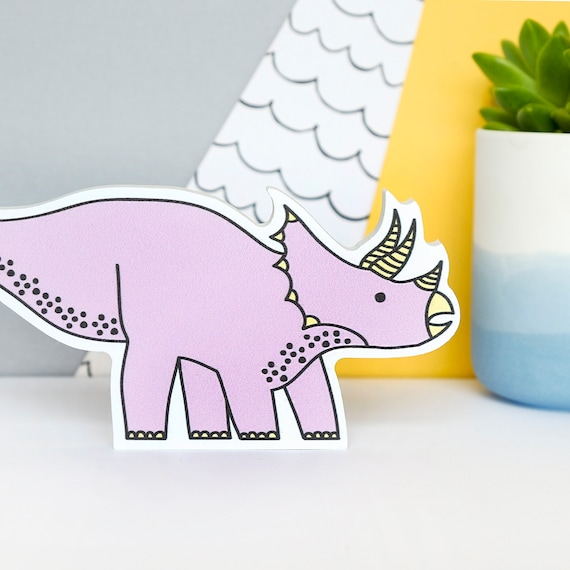 Triceratops - Nursery decor - Dinosaur birthday gift - Dinosaur shelfie - Dinosaur Bedroom wall art