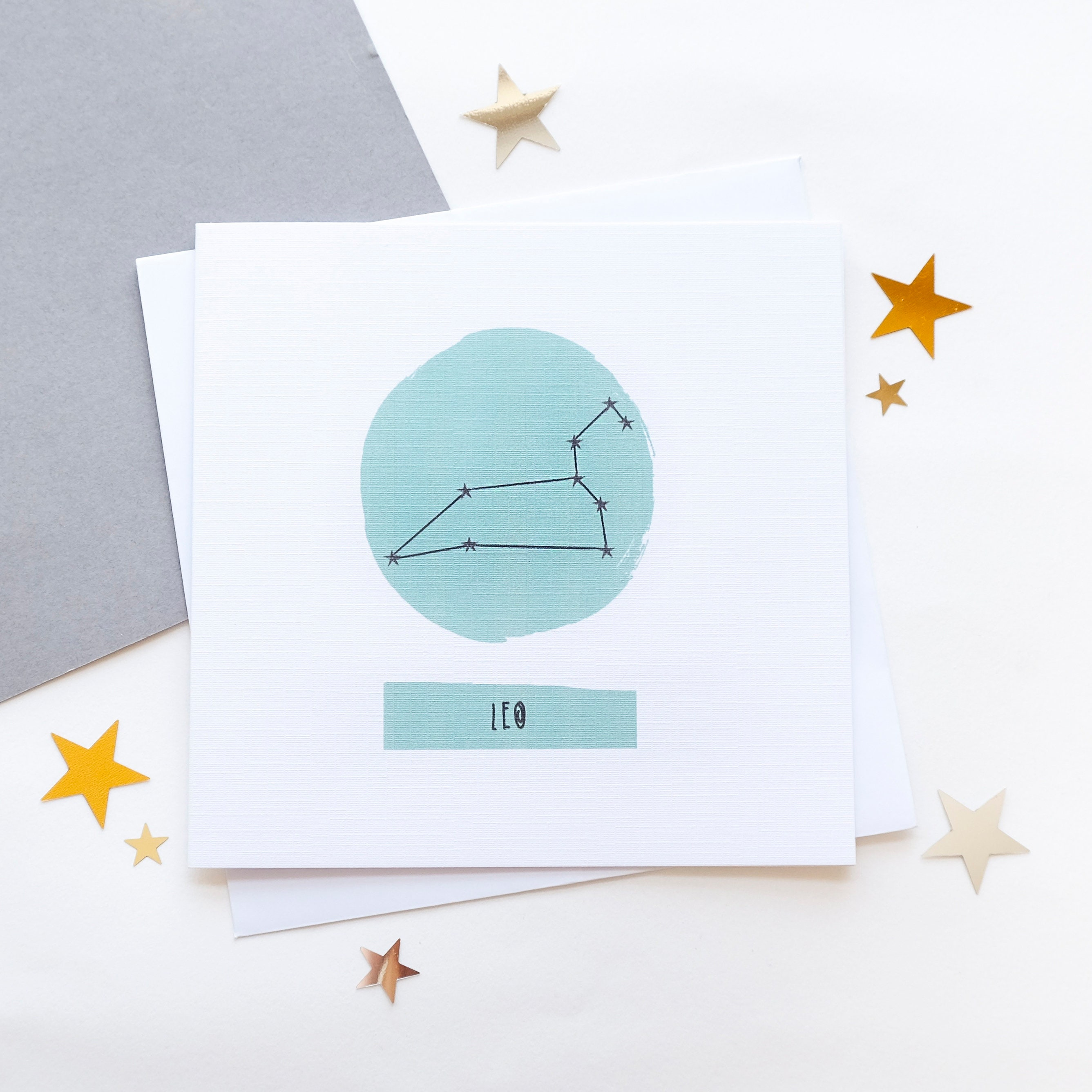 Leo Star Sign Zodiac Birthday Card July August Constellation Chart Astrology Horoscope
