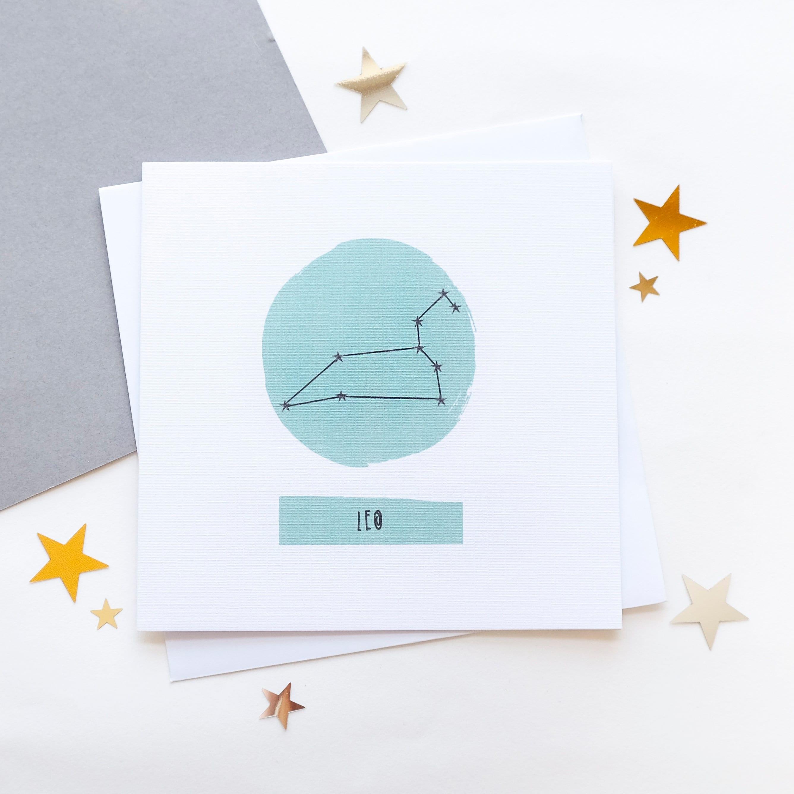 Leo Star Sign Zodiac Birthday Card July August Constellation Chart Astrology Horoscope