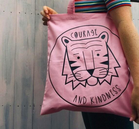 Tiger tote bag - Kindness quote - Tiger print