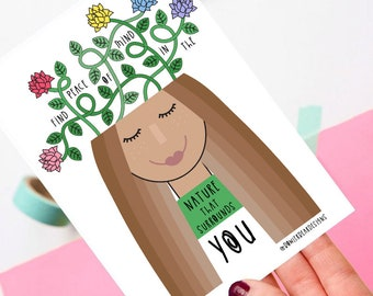 Nature postcard! - Positive postcard - colourful illustration - Mental health quote
