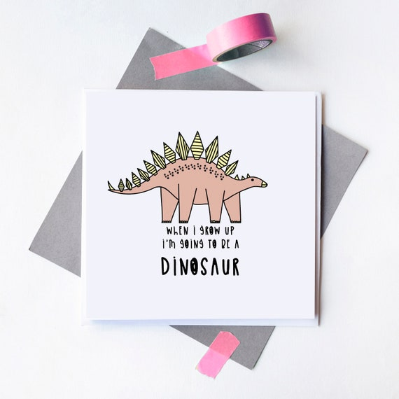 Kids birthday Dinosaur greetings card.