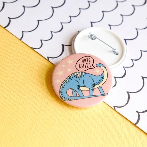 Dinosaur button badge. Boys rule backpack badge.