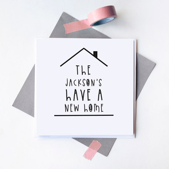 Personalised card - New home card - Moving house gift - Blank inside.