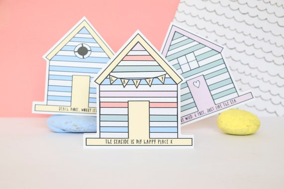 Beach huts wall art. Set of 3.