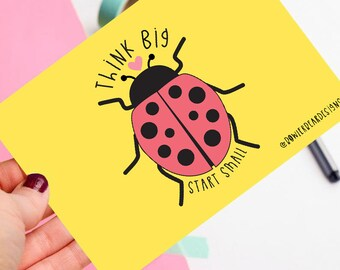 Motivational postcard! - Positive postcard - Ladybird Postcard - Think Big, Start Small