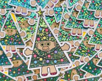 Christmas Troll Sticker - 80's Sticker - Nostalgic Christmas Sticker