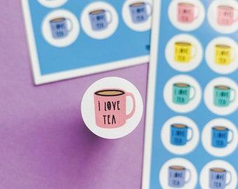 I love Tea Sticker sheet - Rainbow sheet - Planning Stickers