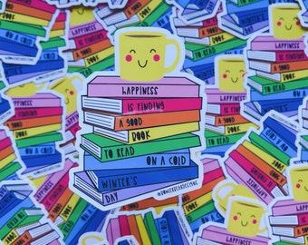 Rainbow Books Sticker - Cuppa sticker - Colourful Sticker