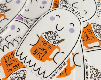 Ghost Sticker - Transparent Ghost Vinyl - Pumpkin Spice & All things nice - Halloween Sticker - Autumn decal