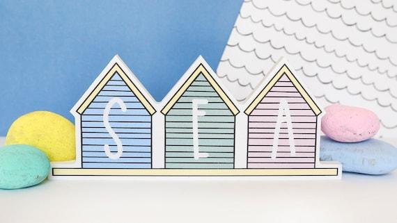 Sea beach huts - home accessory - bathroom decor - seaside quote