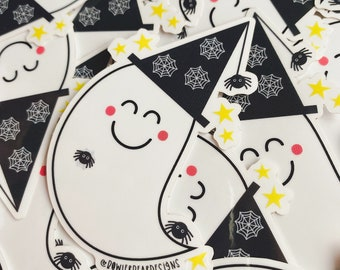 Ghost Sticker - Transparent Ghost Vinyl - Witch Ghost - Halloween Sticker - Spoopy decal