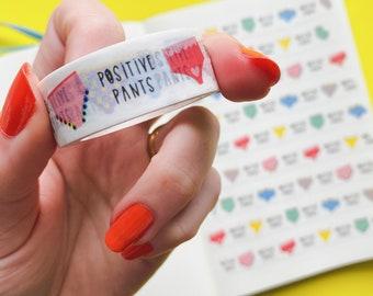 Positive Pants Washi tape - Colourful decorative tape - Journaling Washi Tape - Cute Washi Tape