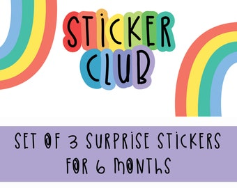 Sticker Club - Surprise Stickers Subscription - 6 month Colourful Sticker Subscription - Monthly Sticker Set - Stationery Subscription