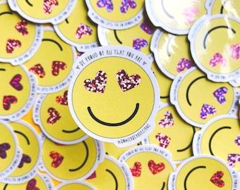 Heart face Sticker - Rainbow sticker - Emoji sticker - Wellbeing sticker