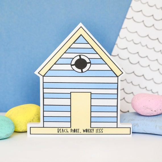 Worry less - happy huts - home accessory - bathroom decor - seaside quote