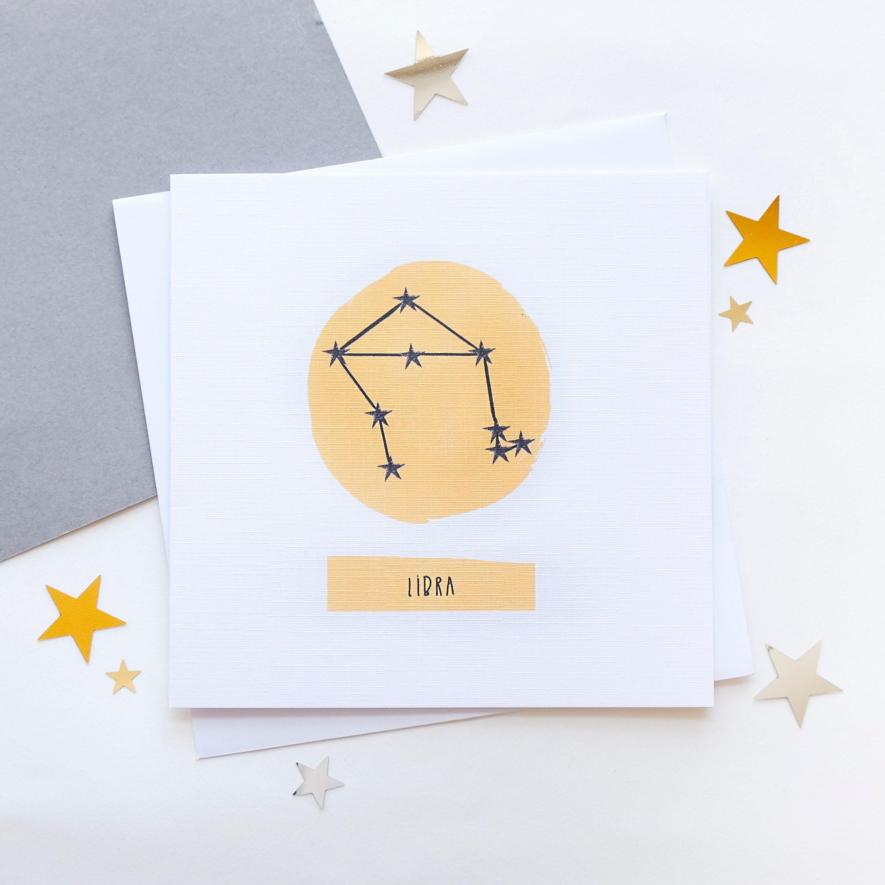 Libra Star Sign Zodiac Birthday Card September Birthday October
