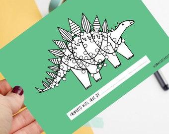 Dinosaur - Christmas postcard - Colour me in