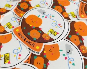 Pumpkin Sticker - Transparent Autumn Vinyl - Positive sticker - Autumn Journaling decoration