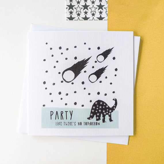 Dinosaur Party Birthday card. Blank inside.