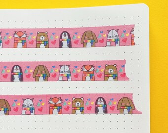 Cosy Animals Washi tape - Cute decorative tape - Journaling Washi Tape