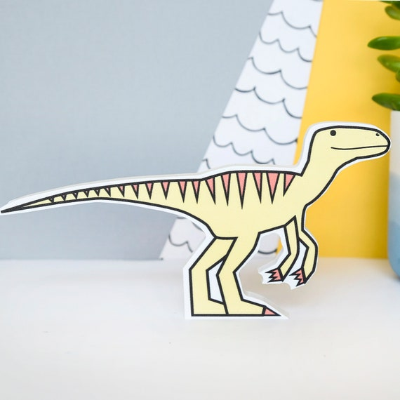 Velociraptor - Nursery decor - Dinosaur birthday gift - Dinosaur shelfie - Dinosaur wall art
