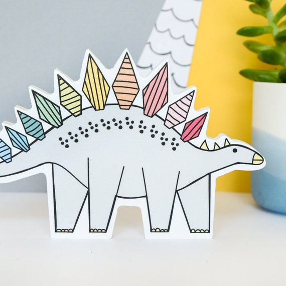 Rainbow Stegosaurus - Nursery decor - Rainbow decor - Dinosaur birthday gift - Dinosaur wall art
