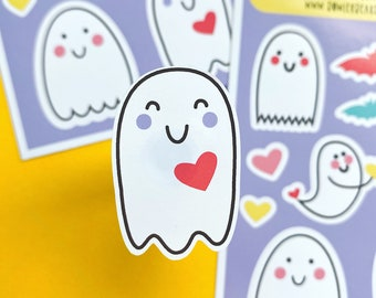 Happy Ghost Sticker sheet - Halloween decals - Ghost stickers for journaling