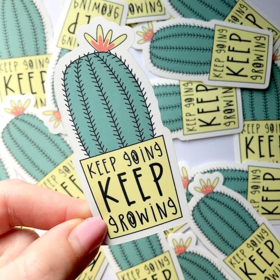 Cactus vinyl sticker. Succulent sticker. Positive Sticker