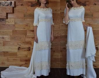 SALE 25% Vintage Mod City Fall Winter Bride // Column Silhouette Long Sleeves and Train // Elegant Daisy Chain Lace Ribbon Trim Raw Silk